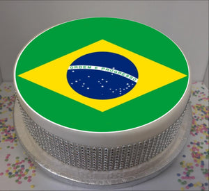 "Flag of Brazil  8"" Icing Sheet Cake Topper"