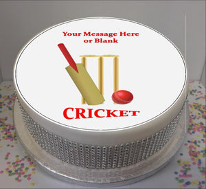 "Personalised Cricket Bat, Ball & Stumps Scene 8"" Icing Sheet Cake Topper"