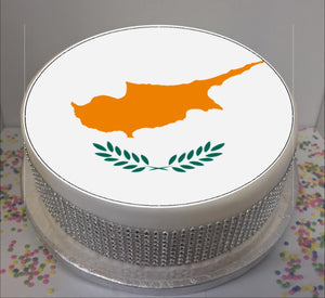 "Flag of Cyprus  8"" Icing Sheet Cake Topper"