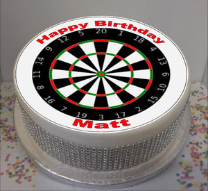 "Personalised Dart Board 8"" Icing Sheet Cake Topper"