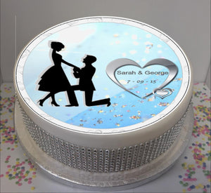 "Personalised Engagement Romance Scene 8"" Icing Sheet Cake Topper"