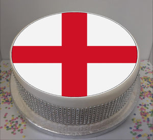 "Flag of England - St George's 8"" Icing Sheet Cake Topper   Icing sheet cake toppers are a great way to personalise either a homemade or shop bought plain cake  Easy Peel Icing Sheet - No Fuss - Ready to pop straight onto your cake (full instructions included)"