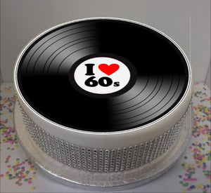 "I Love 60s Vinyl  8"" Icing Sheet Cake Topper"