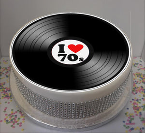"I Love 70s Vinyl  8"" Icing Sheet Cake Topper"