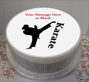 "Personalised Karate Silhouette (female) Scene 8"" Icing Sheet Cake Topper"