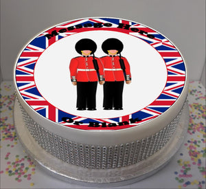 "Personalised London Soldiers Scene 8"" Icing Sheet Cake Topper"