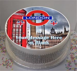 "Personalised London Scene 8"" Icing Sheet Cake Topper"
