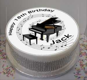 "Personalised Piano & Music Notes Scene 8"" Icing Sheet Cake Topper"
