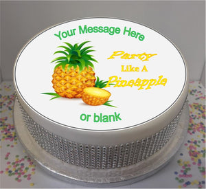 "Personalised Party Like A Pineapple Scene 8"" Icing Sheet Cake Topper"