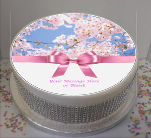 "Personalised Pink Blossom & Bow Scene 8"" Icing Sheet Cake Topper"