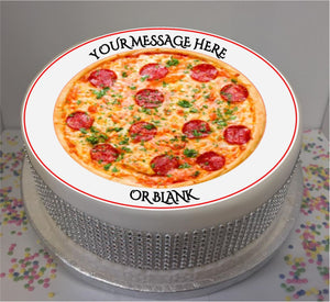 "Personalised Pepperoni Pizza Scene 8"" Icing Sheet Cake Topper"