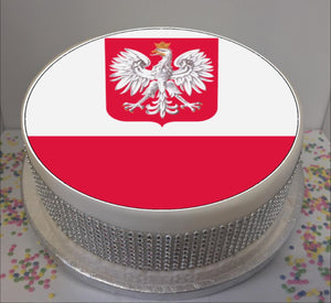 "Flag of Poland 8"" Icing Sheet Cake Topper   Icing sheet cake toppers are a great way to personalise either a homemade or shop bought plain cake  Easy Peel Icing Sheet - No Fuss - Ready to pop straight onto your cake (full instructions included)"