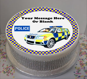 "Personalised Police Car Scene 8"" Icing Sheet Cake Topper"