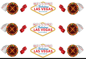 Vegas Casino Edible Icing Cake Ribbon / Side Strips