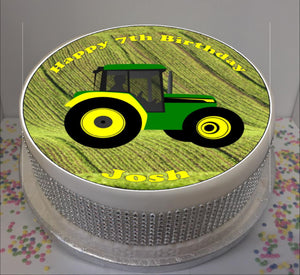 "Personalised Tractor Scene 8"" Icing Sheet Cake Topper"