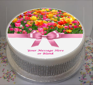 "Personalised Tulips and Bow  8"" Icing Sheet Cake Topper"