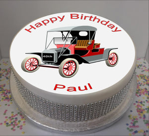 "Personalised Vintage Car 8"" Icing Sheet Cake Topper"