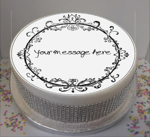 "Personalised Vintage Scroll 8"" Icing Sheet Cake Topper"