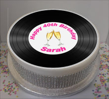 "Load image into Gallery viewer, Personalised Vinyl Record & Champagne 8"" Icing Sheet Cake Topper"
