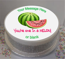 "Load image into Gallery viewer, Personalised You're One In A Melon 8"" Icing Sheet Cake Topper"