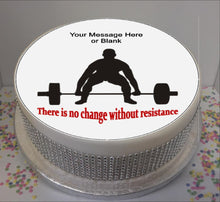 "Load image into Gallery viewer, Personalised Weightlifter & Quote 8"" Icing Sheet Cake Topper"