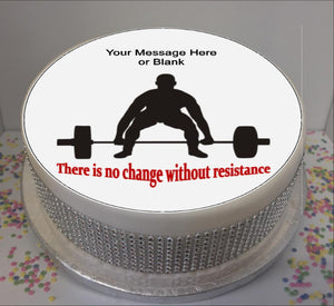 "Personalised Weightlifter & Quote 8"" Icing Sheet Cake Topper"