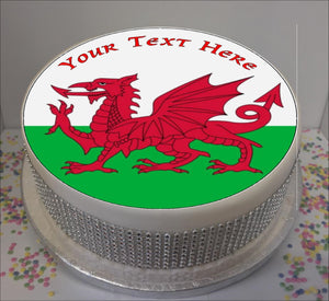 "Personalised Welsh Flag 8"" Icing Sheet Cake Topper"