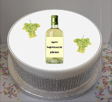 "Load image into Gallery viewer, Personalised White Wine Bottle & Grapes 8"" Icing Sheet Cake Topper"
