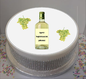 "Personalised White Wine Bottle & Grapes 8"" Icing Sheet Cake Topper"