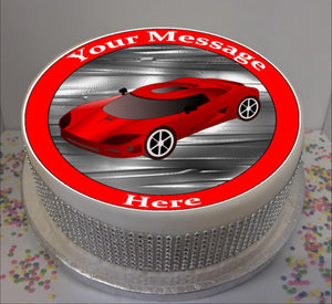 "Personalised Red Sports Car Scene 8"" Icing Sheet Cake Topper"