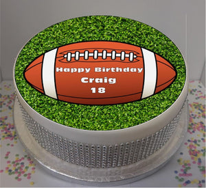 "Personalised Rugby Ball Scene 8"" Icing Sheet Cake Topper"