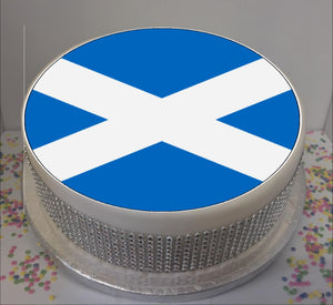 "Flag of Scotland 8"" Icing Sheet Cake Topper   Icing sheet cake toppers are a great way to personalise either a homemade or shop bought plain cake  Easy Peel Icing Sheet - No Fuss - Ready to pop straight onto your cake (full instructions included)"