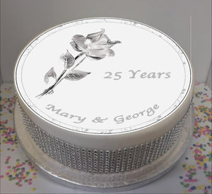 "Personalised Silver Wedding Anniversary Rose 8"" Icing Sheet Cake Topper"