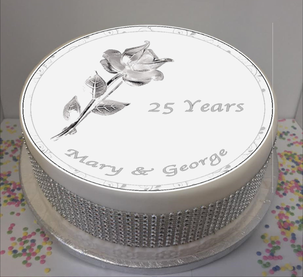 Personalised Silver Wedding Anniversary Rose 8