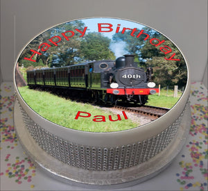 "Personalised Steam Train Scene 8"" Icing Sheet Cake Topper"