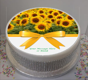 "Personalised Sunflowers & Bow Scene 8"" Icing Sheet Cake Topper"