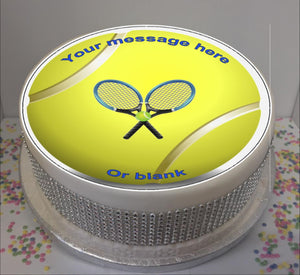 "Personalised Tennis Ball Scene 8"" Icing Sheet Cake Topper"