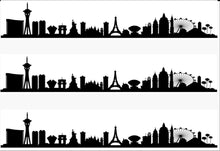 Load image into Gallery viewer, Las Vegas Skyline Edible Icing Cake Ribbon / Side Strips