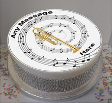 "Load image into Gallery viewer, Personalised Trumpet & Music Notes 8"" Icing Sheet Cake Topper"
