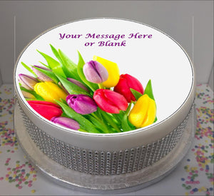 "Personalised Bright Tulips 8"" Icing Sheet Cake Topper"