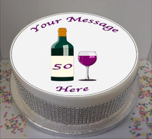 "Load image into Gallery viewer, Personalised Wine Bottle & Glass 8"" Icing Sheet Cake Topper"