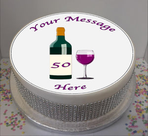 "Personalised Wine Bottle & Glass 8"" Icing Sheet Cake Topper"