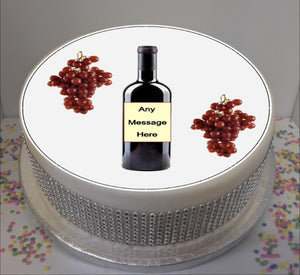 "Personalised Red Wine Bottle & Grapes 8"" Icing Sheet Cake Topper"