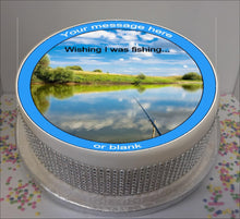 "Load image into Gallery viewer, Personalised Wishing I Was Fishing 8"" Icing Sheet Cake Topper"