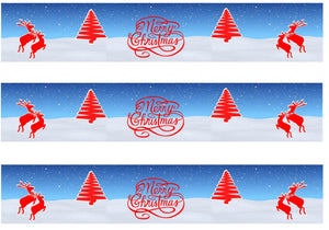 Reindeer & Christmas Trees Edible Icing Cake Ribbon / Side Strips