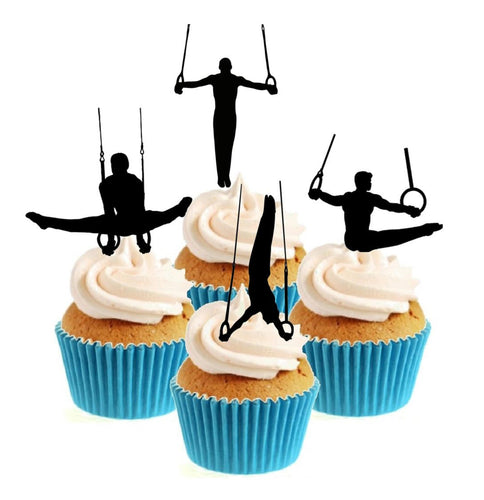 Male Gymnast Parallel Bars Collection Stand Up Cake Toppers (12 pack)