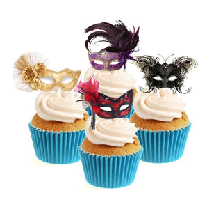 Masquerade Mask Collection Stand Up Cake Toppers (12 pack)