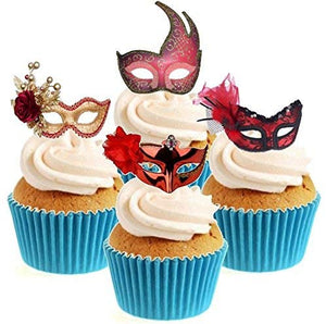 Masquerade Mask Red Collection Stand Up Cake Toppers (12 pack)