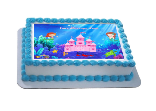 Personalised Mermaid Castle A4 Icing Sheet Topper