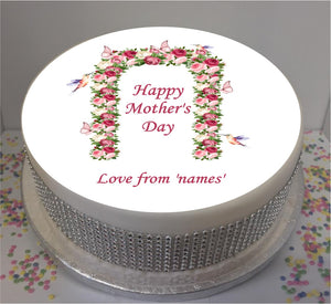 "Personalised Mother's Day Butterfly Arch 8"" Icing Sheet Cake Topper"